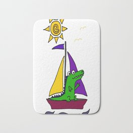 Cool Funny Alligator on Colorful Sailboat copy Bath Mat