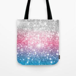 Galaxy Sparkle Stars Cotton Candy Tote Bag