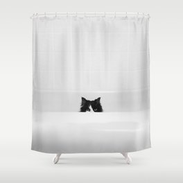 Water Please - Black and White Cat in Bathtub Shower Curtain