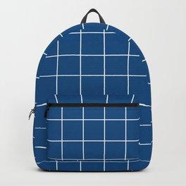 Grid Pattern Classic Blue White 0F4C81 Stripe Line Minimal Stripes Lines Spring Summer Backpack