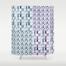 Blues and Grapes in squares Shower Curtain
