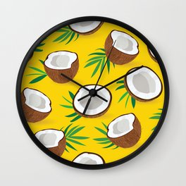 Coconut Pattern on Yellow Background Wall Clock