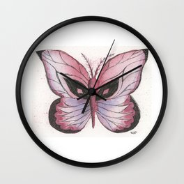 Ink and Watercolor Butterfly in rose colored tones Wall Clock