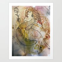 woman with lobster claw Art Print