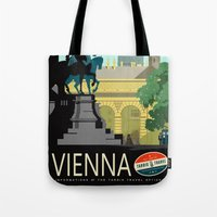vienna Tote Bags featuring Visit Vienna by Duke Dastardly