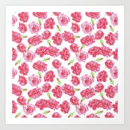 watercolor pink rose seamless pattern Art Print
