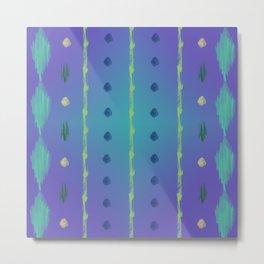 Purple Teal Ikat Metal Print