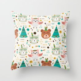 Boho Forest , Woodland Critters Throw Pillow