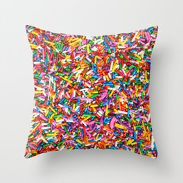 Rainbow Sprinkles Sweet Candy Colorful Throw Pillow