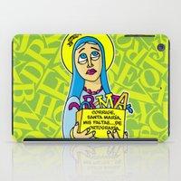 les mis iPad Cases featuring Corrige, Santa María, mis faltas... de ortografía by Mis Santitos