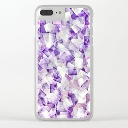 Geometric Stacks Mini Purple Clear iPhone Case