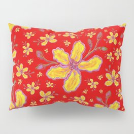 Yellow Flowers on Red Pillow Sham