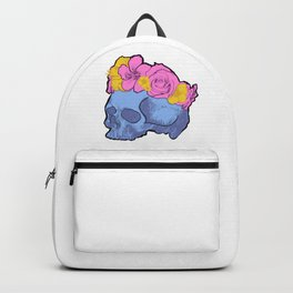 Cute Blue Skull with Pink and Yellow Flower Crown Backpack