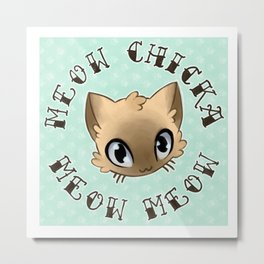 Meow Chicka Meow Meow Cat Tattoo Flash-style Metal Print