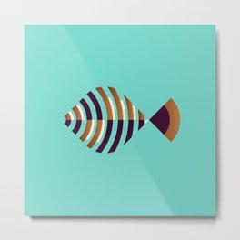 Fish // Geometric Minimalist Illustration Metal Print
