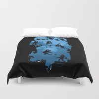 ass Duvet Covers featuring Ninja Kick Ass Clash by Anna-Maria Jung