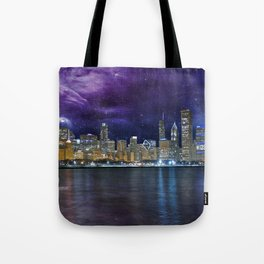 Spacey Chicago Skyline Tote Bag