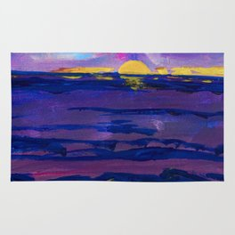 Large golden sunset, ocean, beach abstract Rug