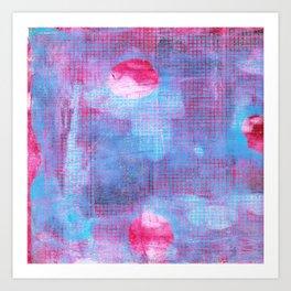 Crimson Clover, Abstract Monoprint Painting Art Print