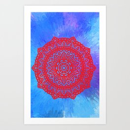 Mandala red passion Art Print