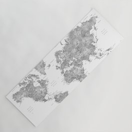 Grayscale watercolor world map with cities Yoga Mat