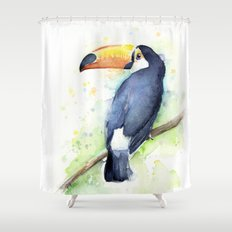 Toucan Tropical Bird Watercolor Shower Curtain