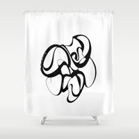 super hero Shower Curtains featuring Super. Hero. Mask.  by Je Nie Fleming