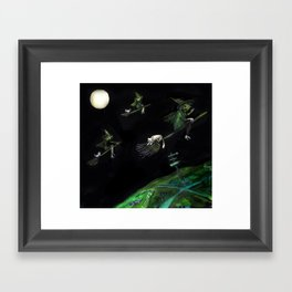 Three Witches on Brooms with the Moon.  Framed Art Print
