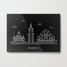 Bangalore Minimal Skyline Drawing Metal Print