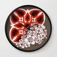 mid century Wall Clocks featuring Mid Century Hawaiian by Vikki Salmela
