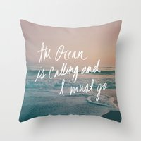 leah flores Throw Pillows featuring The Ocean is Calling by Laura Ruth and Leah Flores by Leah Flores