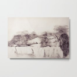 Lying on the bed. Nude studio Metal Print