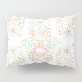 Modern girly pink mint gold Hamsa hand of fatima Pillow Sham