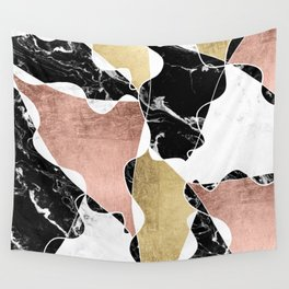 Modern white black marble rose gold foil color block handdrawn geometric lines Wall Tapestry