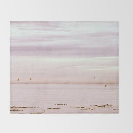 Pink Evening Sky by the Sea Throw Blanket