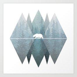 Misty Forest Mountain Bear Art Print