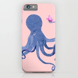 Blue Octopus and Butterfly iPhone Case