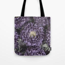 Metallic Purple Mums on a Metal Background Tote Bag