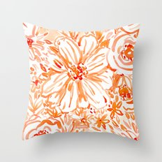 BIG SUNSHINE Orange Watercolor Floral Throw Pillow