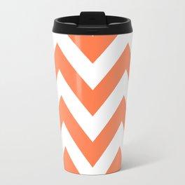 Large chevron pattern / coral Travel Mug