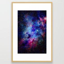 Blue Glitter Galaxy Framed Art Print