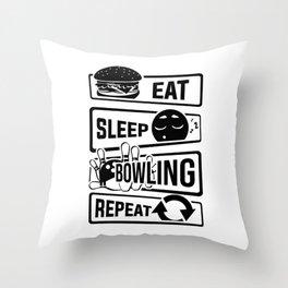 Eat Sleep Bowling Repeat - Pins Strike Team League Throw Pillow