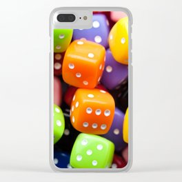 Assorted multicolor dices, close-up shot, abstract gambling background Clear iPhone Case