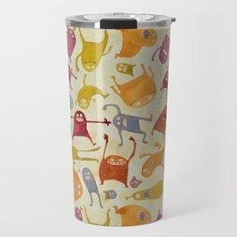 Watercolor Critter Pattern Alpha Travel Mug