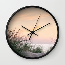 Dune grass at colourful pastel sunset | Painted sky at North Sea, Netherlands | Fine art travel photography Wall Clock