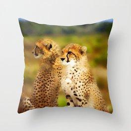 Pair of Cheetahs Throw Pillow