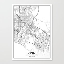 Minimal City Maps - Map Of Irvine, California, United States Canvas Print