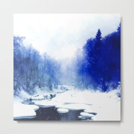 snow river in blue photochrom tinted aesthetic landscape art altered photography Metal Print