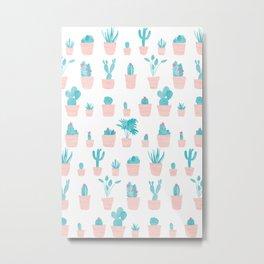 Cacti and Plants in Pots | Original Palette Metal Print