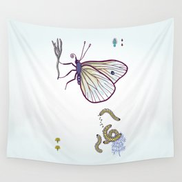 happy cabbage butterfly Wall Tapestry